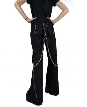 Women's CHAINS BLACK RHINESTONES GOTHIC PUNK EMO TRIPP PANTS STRAPS BAGGY PANTS (3)
