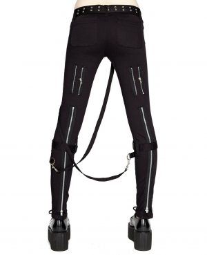 Women's GOTHIC PUNK EMO BONDAGE BLACK STRAPS GOTH ZIPPER ROCK STAR TRIPP PANTS (1)