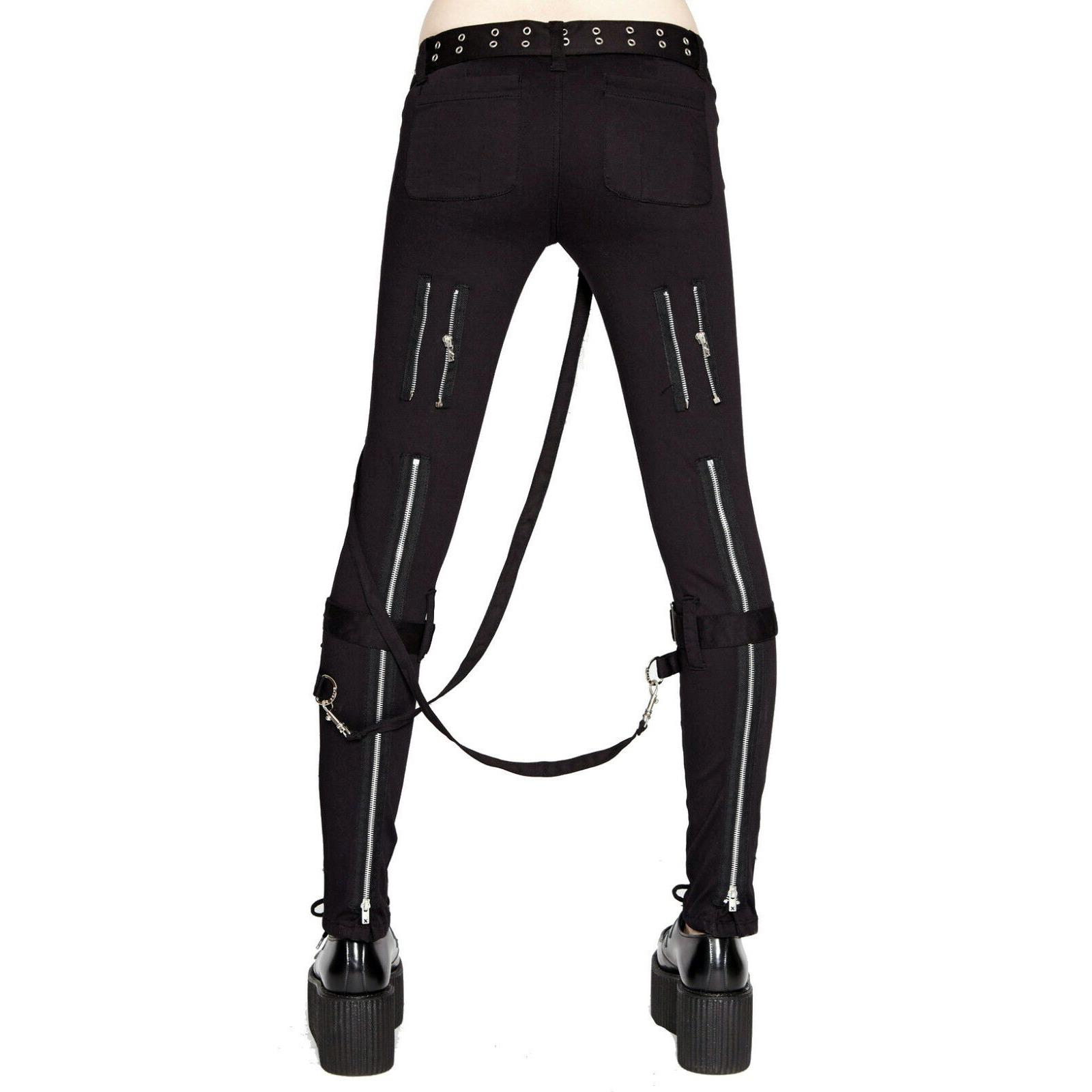 Women's GOTHIC PUNK EMO BONDAGE BLACK STRAPS GOTH ZIPPER ROCK STAR TRIPP PANTS (1)