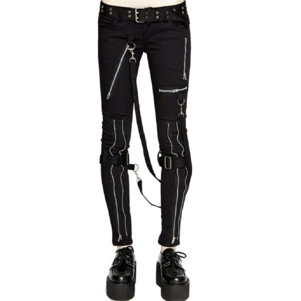 Women's GOTHIC PUNK EMO BONDAGE BLACK STRAPS GOTH ZIPPER ROCK STAR TRIPP PANTS (2)