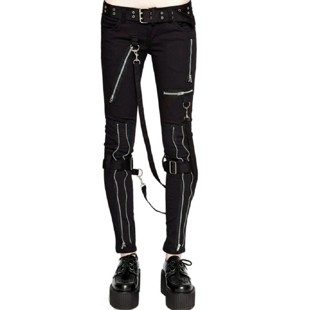 Women's GOTHIC PUNK EMO BONDAGE BLACK STRAPS GOTH ZIPPER ROCK STAR TRIPP PANTS (2)