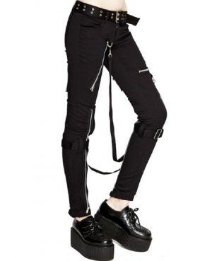 Women's GOTHIC PUNK EMO BONDAGE BLACK STRAPS GOTH ZIPPER ROCK STAR TRIPP PANTS (3)