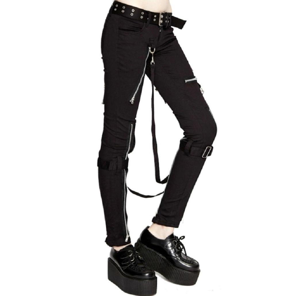 Women's GOTHIC PUNK EMO BONDAGE BLACK STRAPS GOTH ZIPPER ROCK STAR TRIPP PANTS (3)