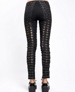 Women's GOTHIC PUNK EMO Medieval BONDAGE BLACK GOTH ZIPPER ROCK STAR TRIPP PANTS (1)