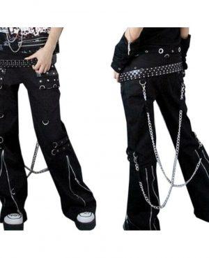 Women's Gothic Bondage Pant Rock Hard Trouser Heavy Weight Pant EMO TRIPP PANTS (1)