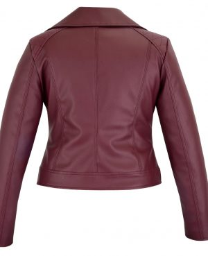 Women's Maroon Slim Fit Biker Style Moto Faux Leather Jacket (2)