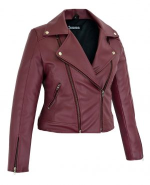 Women's Maroon Slim Fit Biker Style Moto Faux Leather Jacket (3)