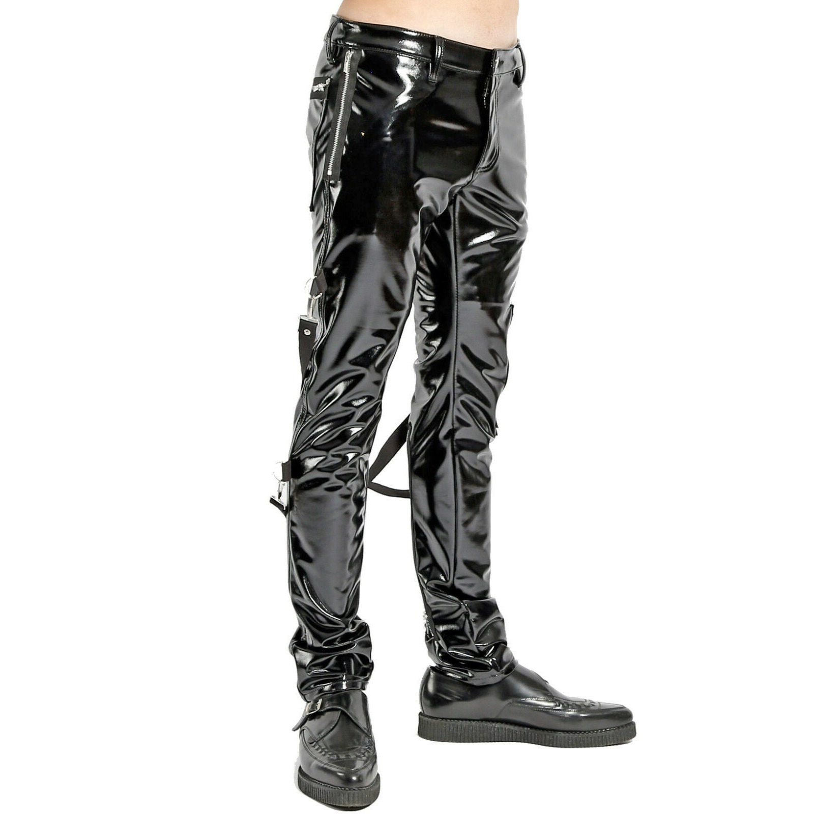 SKINNY JEANS BLACK GOTHIC SUPREME CHAOS VINYL PUNK REBEL PANTS WITH STRAP (1)