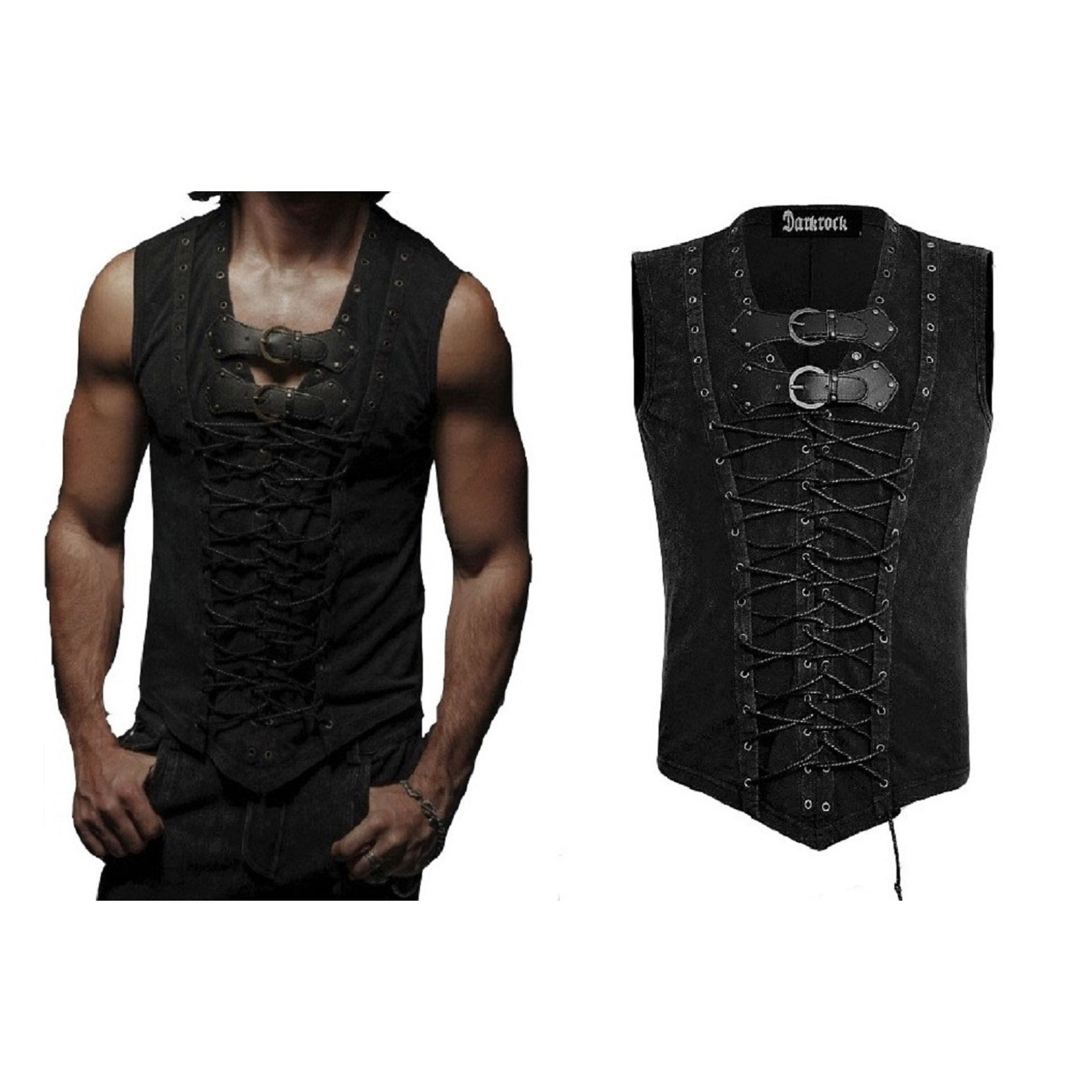 Vintage Men T-Shirt Steampunk Gothic visual kei Vest (1)