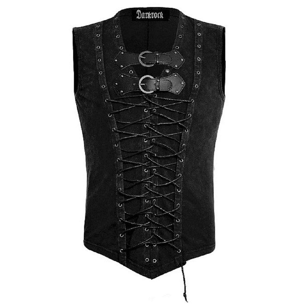 Vintage Men T-Shirt Steampunk Gothic visual kei Vest (2)