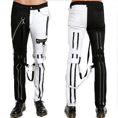 Prime Quality Men Gothic Bondage Gents Pant Black & White Cotton Pants Pant Rock Hard Trouser Heavy Weight Pant Emo/Tripp Pants