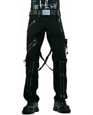 Gothic Straps Zipper Trousers Punk Rock Studs Metal & Chain Trouser Tripp Pant
