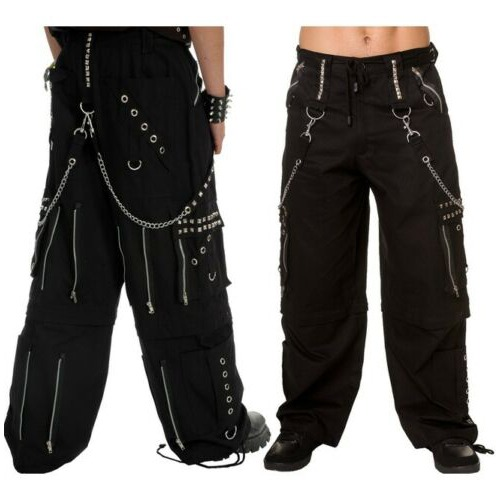 Gothic Men Black Chrome Trousers Punk Rock Studs Metal /Chain Trouser Tripp Pant