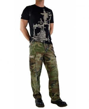 GOTHIC CYBER STEAMPUNK CAMO ARMY MILITARY BIKER JEANS PUNK ROCK PANTS/MARINES