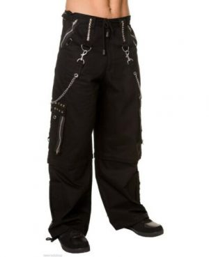 Gothic Men Black Chrome Trousers Punk Rock Studs Metal /Chain Trouser Tripp Pant