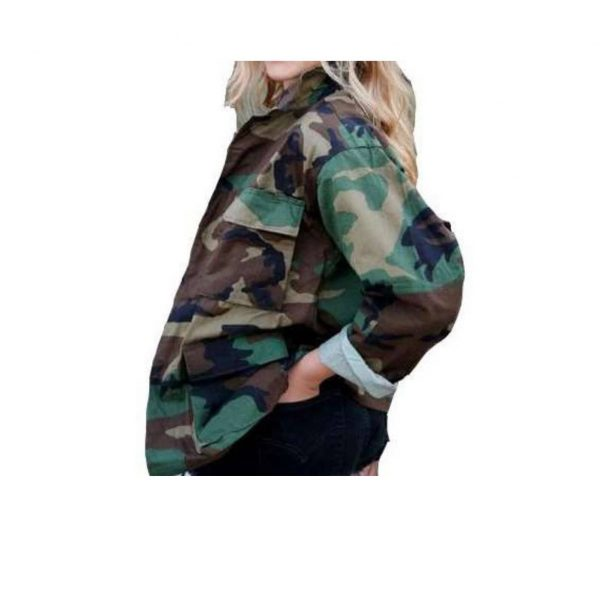 Camo Jacket Uni Sex Vintage Military Army Jacket Military Issued Button Down Jacket