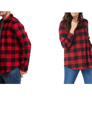 Red Flannel Buffalo Plaid Cotton Button Down Unisex Shirt