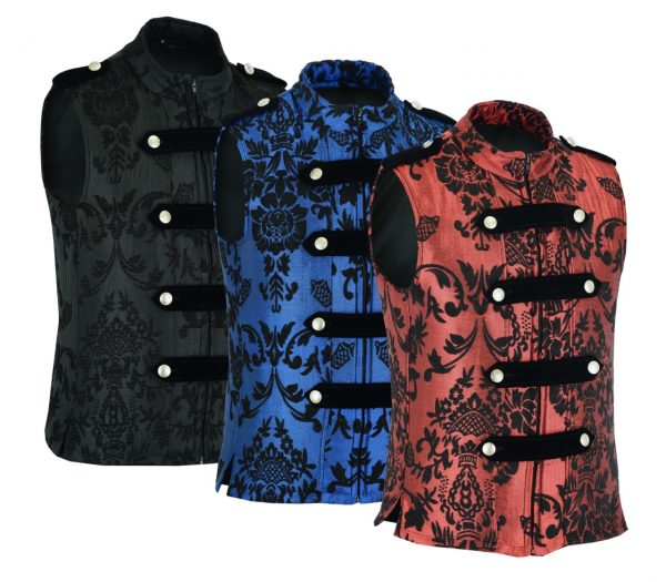 DARKROCK RED VEST GOTHIC JACKET MILITARY UNIFORM ROCK BAND VEST GOTH STEAMPUNK