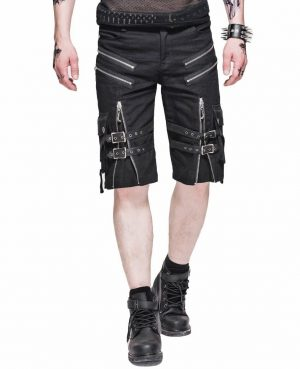 Men's Steampunk Casual Shorts Black Belt Rock Zipper Gothic Summer Short Pants (1)