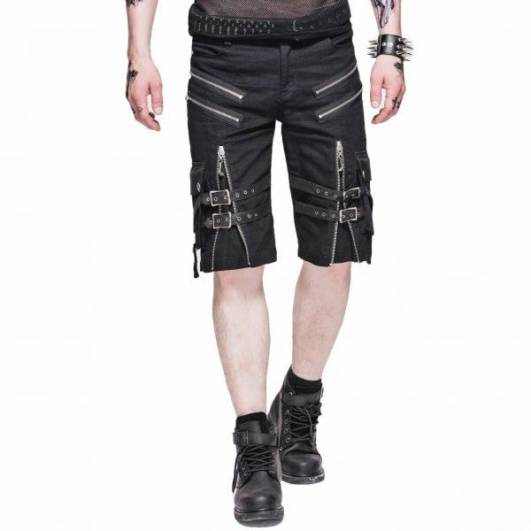 Men's Steampunk Casual Shorts Black Belt Rock Zipper Gothic Summer Short Pants (1)