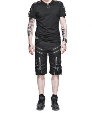 Men's Steampunk Casual Shorts Black Belt Rock Zipper Gothic Summer Short Pants (2)