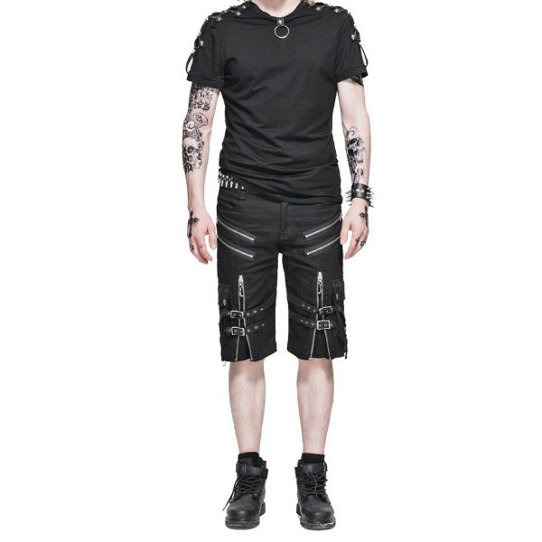 Men's Steampunk Casual Shorts Black Belt Rock Zipper Gothic Summer Short Pants (2)