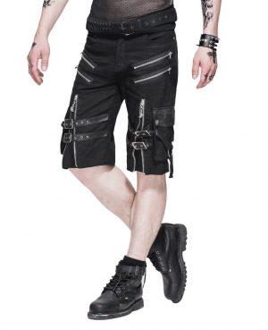 Men's Steampunk Casual Shorts Black Belt Rock Zipper Gothic Summer Short Pants (3)