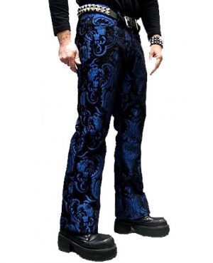 TAPESTRY VICTORIAN VAMPIRE DRACULA GOTHIC STEAMPUNK PIRATE BLUE/BLACK PANTS