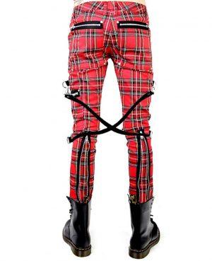 Gothic Bondage Red Plaid Men Pant Alternative Punk Rebel Rock EMO Trouser Pant