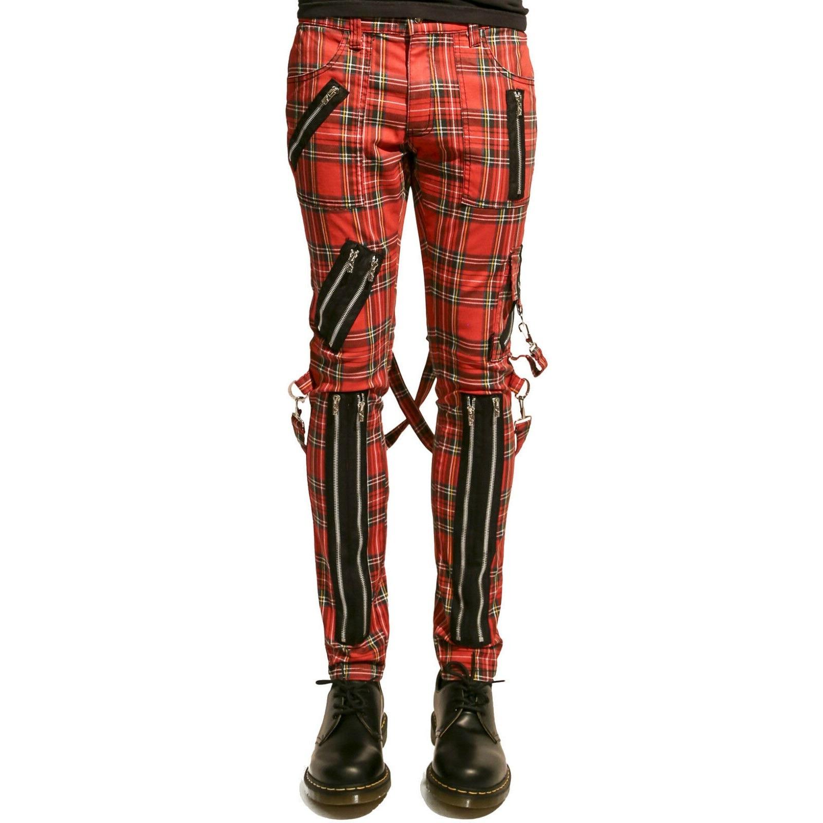Tripp Bondage Red Straps Men Pant Alternative Punk Rebel Rock EMO Trouser Jeans Pant