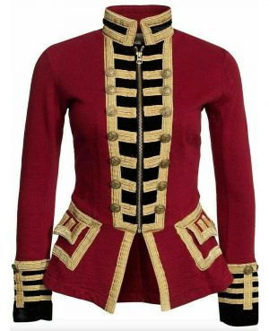 New Women's Red Wool French Terry Officer's Military Band Jacket