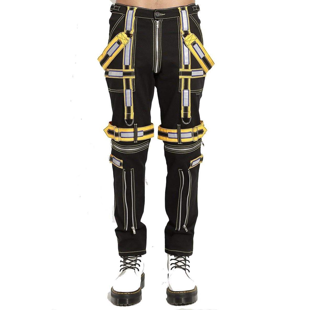 Men's Handmade Electro Bondage Rave Gothic Cyber Chain Gothic Jeans Punk Rock Tripp Black/Yellow Pant's
