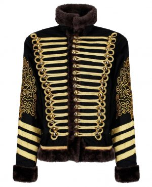 New Napoleonic Hussars Uniform Military Style Tunic Pelisse Jimi Hendrix Jacket Parade Drummer Officer Faux Fur