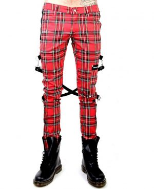 Gothic Bondage Red Plaid Men Pant Alternative Punk Rebel Rock EMO Trouser Pant