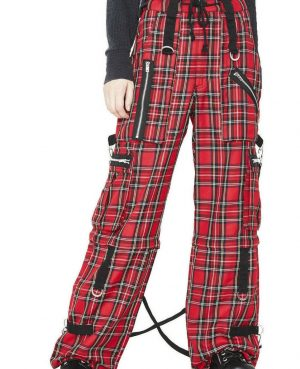 Gothic Bondage Red Plaid Men Pant Alternative Punk Rock EMO Trouser Pant Shorts