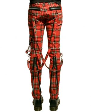 Tripp Bondage Red Straps Men Pant Alternative Punk Rebel Rock EMO Trouser Jeans Pant