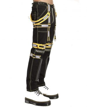 Men's Handmade Electro Bondage Rave Gothic Cyber Chain Gothic Jeans Punk Rock Tripp Black/Yellow Pant's