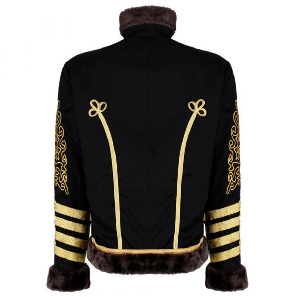New Napoleonic Hussars Uniform Military Style Tunic Pelisse Jimi Hendrix Jacket Parade Drummer Officer Faux Fur