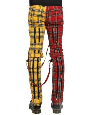 Men Bondage Straps Punk Split Leg Plaid Jeans Pant Alternative Rebel Rock EMO