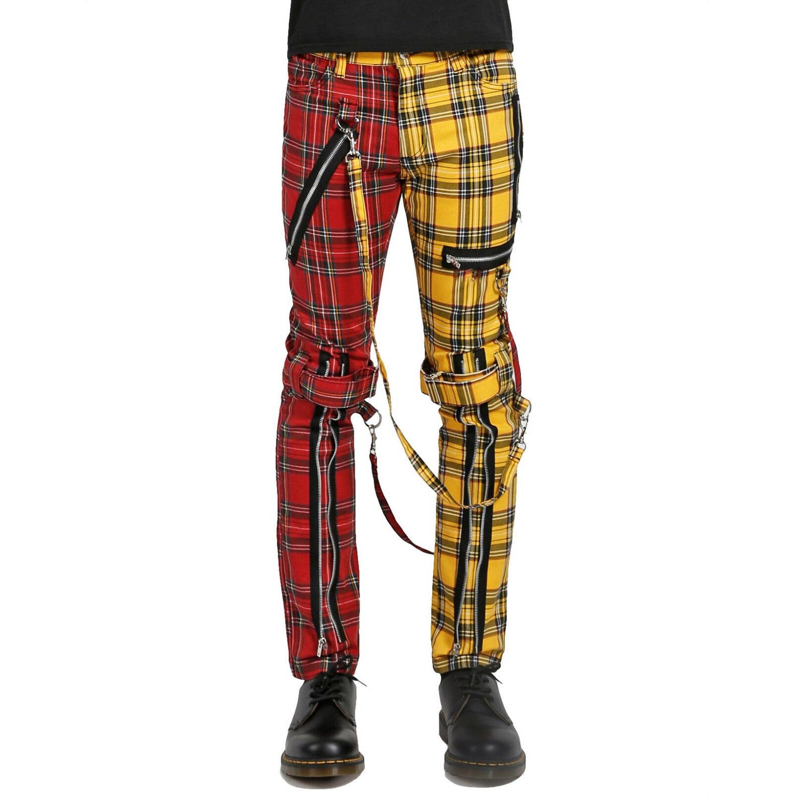 Men Bondage Straps Punk Split Leg Plaid Jeans Pant Alternative Rebel Rock EMO