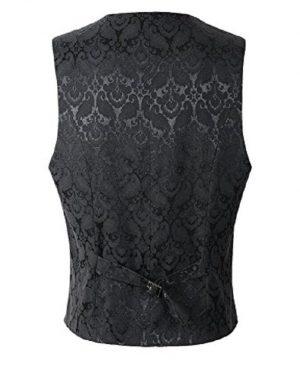 Men's Waistcoat Vest Black Brocade Gothic Steampunk VTG /USA