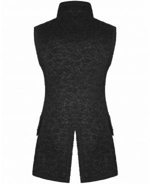 Men's Long Waistcoat Vest Black Gothic Steampunk Victorian Aristocrat