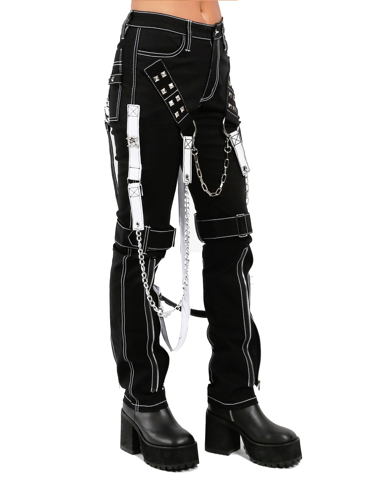 Prime Quality Women's Gothic Tripp Chains Black Raider Punk Emo Rock Star Pants