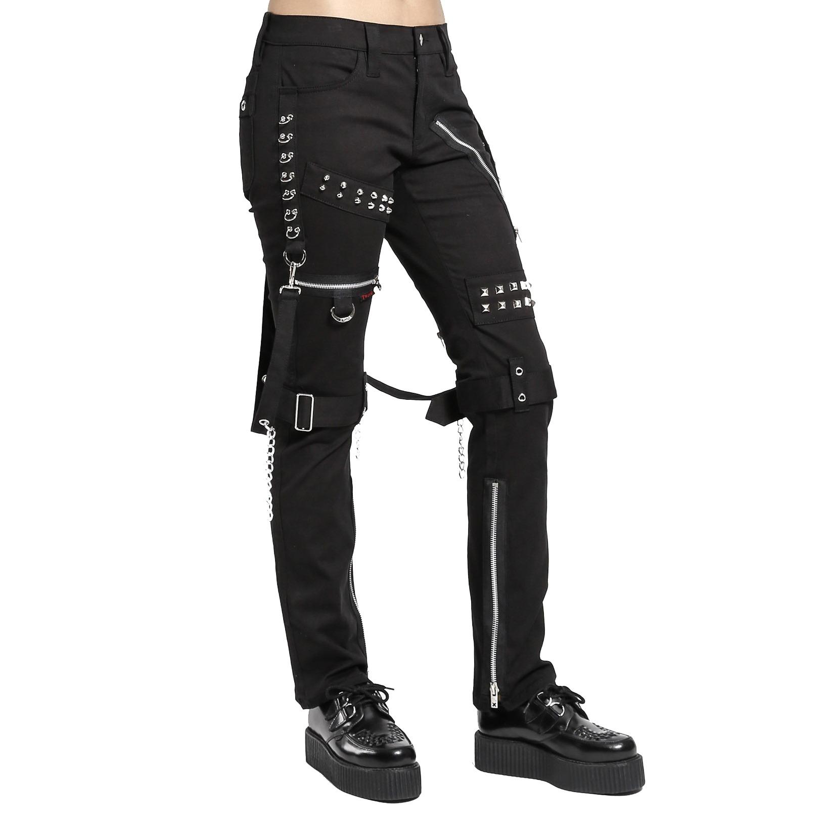 Gothic Rave Black Chain Rock Star Straps Metal Punk Show Pants