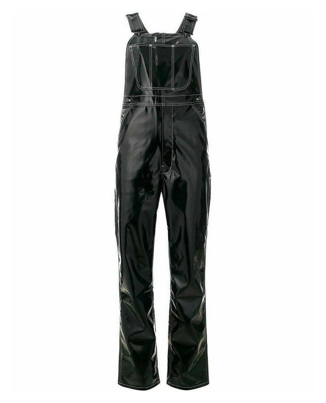 Women Vinyl Black Jumpsuit Romper Play suit PVC, Leather-Shortall,Pinafore Dress