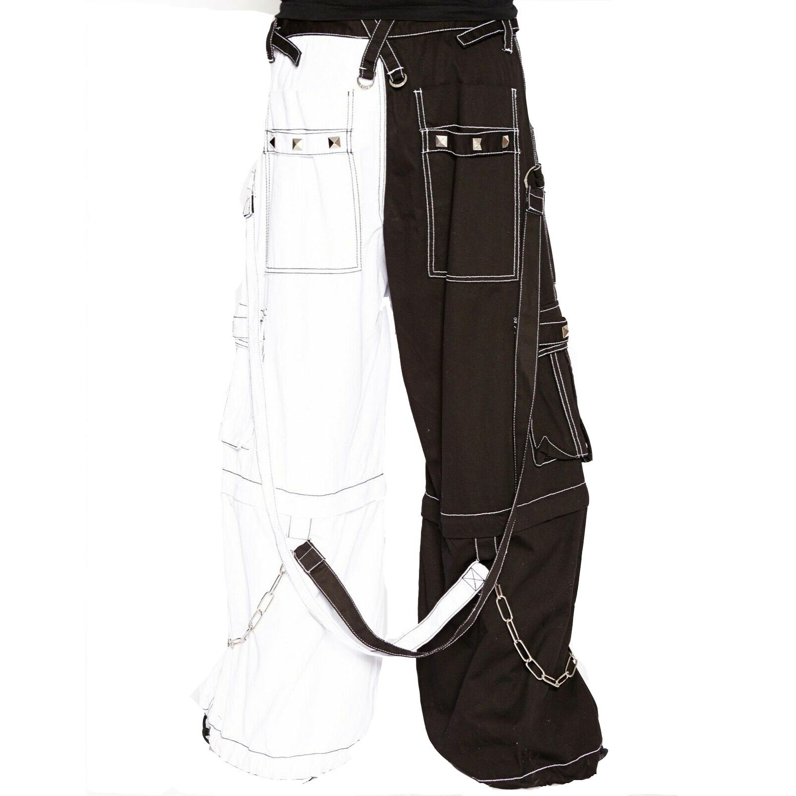 Gothic Bondage Men Pant Alternative Punk Rock Transformer Trouser WHITE/BLACK Baggy Pants