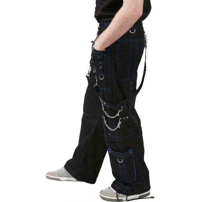 Men Gothic Bondage Trouser Blue Thread Cyber Pant Punk Shorts Metal Studs