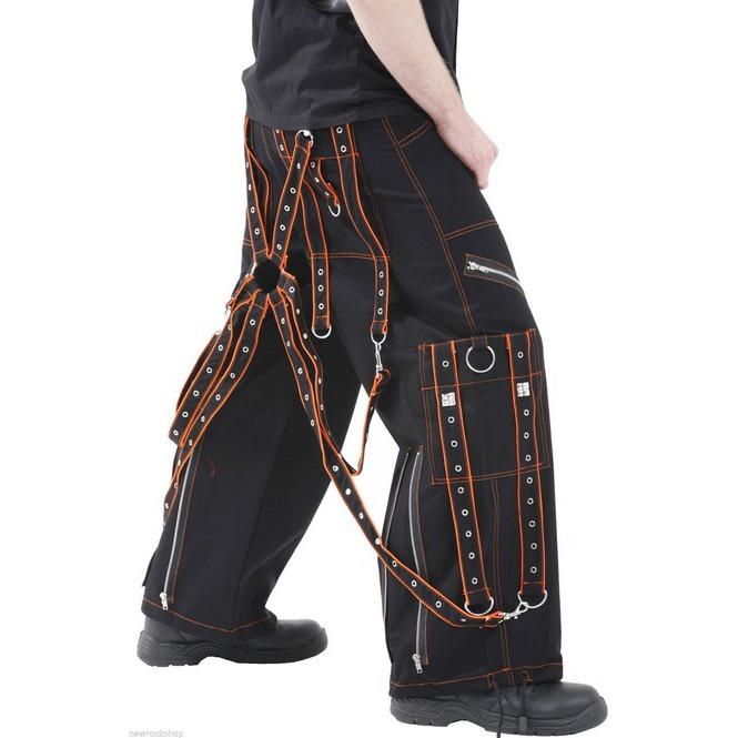 Gothic Men,s Orange Black Pant Cotton Trousers Studs Metal Punk Pan