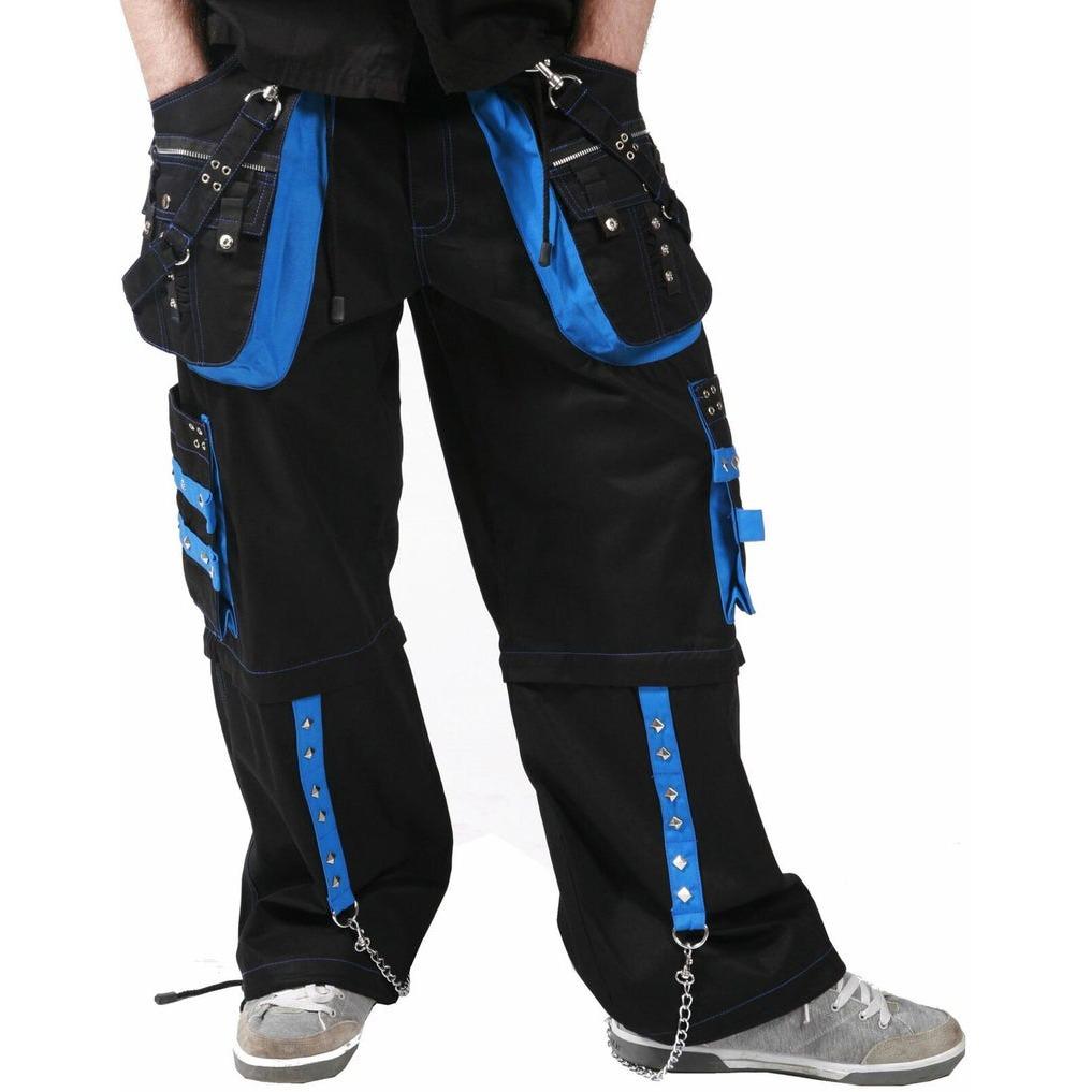 Men,s Gothic Dead Threads Black Blue Trousers Gothic Cotton Studs Metal Punk Emo Trousers