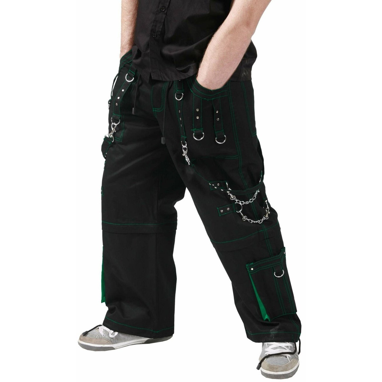 Gothic Men,s handmade Dead Thread Bondage 4 pocket Trouser Punk Rock Black WITH GREEN stitch